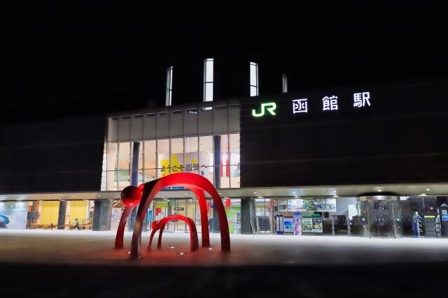 函館駅周辺の夜景写真
