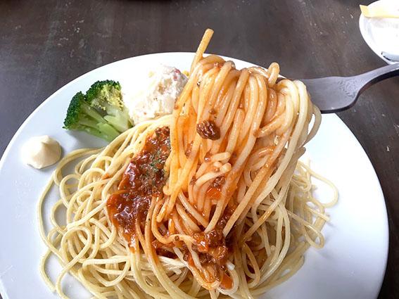 ミートソーススパゲティのアップ写真